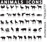 animal icons set | Shutterstock .eps vector #792616777