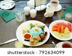 local food and local dessert on ... | Shutterstock . vector #792634099