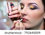 professional makeup artist... | Shutterstock . vector #792640009