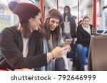 students in public transport | Shutterstock . vector #792646999