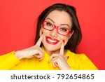 beautiful happy woman with red... | Shutterstock . vector #792654865