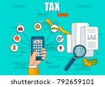 state taxes. tax payment.... | Shutterstock .eps vector #792659101