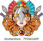 legendary female warrior... | Shutterstock .eps vector #792661609