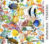 Watercolor Tropical Sea Fish...