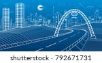 highway under the bridge.... | Shutterstock .eps vector #792671731