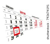 23 january highlighted on... | Shutterstock .eps vector #792674191