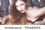 portrait of beautiful girl with ... | Shutterstock . vector #792680035