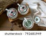 japanese hand painted ceramic...   Shutterstock . vector #792681949