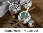 japanese hand painted ceramic...   Shutterstock . vector #792681955