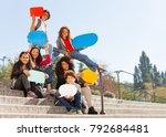 cute teenage boys and girls... | Shutterstock . vector #792684481