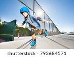 boy in roller blades doing... | Shutterstock . vector #792684571