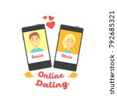 two smartphones with man and... | Shutterstock .eps vector #792685321
