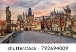 charles bridge and prague... | Shutterstock . vector #792694009