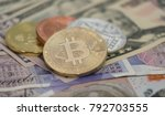 bitcoins with us banknotes and... | Shutterstock . vector #792703555