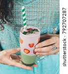 green matcha and strawberry... | Shutterstock . vector #792707287