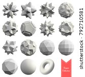 collection of 15 3d geometric... | Shutterstock .eps vector #792710581