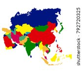 political map of asia on a... | Shutterstock .eps vector #792720325