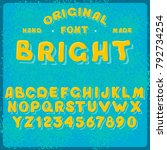 vintage funny vector alphabet...   Shutterstock .eps vector #792734254