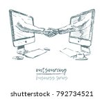 business concept  outsourcing ... | Shutterstock .eps vector #792734521