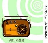 world radio day. retro radio... | Shutterstock .eps vector #792739351