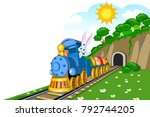 easter steam locomotive wagon... | Shutterstock .eps vector #792744205