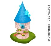 cute wizard tower on a white... | Shutterstock . vector #792761935