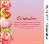 valentine card vertical heart... | Shutterstock .eps vector #792768709