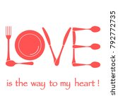 inscription love from cutlery.... | Shutterstock .eps vector #792772735