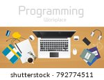 workplace of the programmer ... | Shutterstock .eps vector #792774511