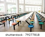 Stock photo clean school cafeteria with many empty seats and tables 79277818