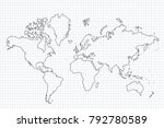 world map with country borders  ... | Shutterstock .eps vector #792780589