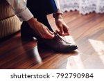 business man or groom dressing...   Shutterstock . vector #792790984