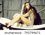one beautiful sensual serious... | Shutterstock . vector #792794671