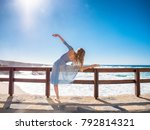 dancing ballerina in blue silk... | Shutterstock . vector #792814321