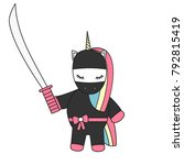 cute cartoon vector ninja... | Shutterstock .eps vector #792815419