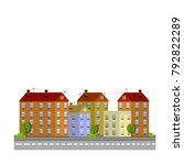 cartoon city flat illustration  ... | Shutterstock .eps vector #792822289