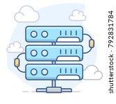server and clouds. vector line... | Shutterstock .eps vector #792831784