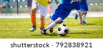 running young soccer football... | Shutterstock . vector #792838921
