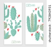 cactus plant  vector stipple... | Shutterstock .eps vector #792843931