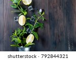 fresh homemade lemonade in... | Shutterstock . vector #792844321