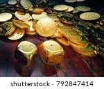 bitcoin dice gambling  stack of ... | Shutterstock . vector #792847414