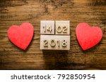 cube calendar for 14 february... | Shutterstock . vector #792850954