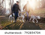 Stock photo dog walkers with dalmatian dogs enjoying in park 792854704