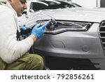 car detailing   worker with... | Shutterstock . vector #792856261