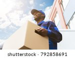 low angle view of loader man... | Shutterstock . vector #792858691