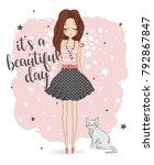romantic girl  cute girl ... | Shutterstock .eps vector #792867847