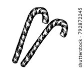 christmas candy cane sketch.... | Shutterstock .eps vector #792872245