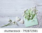 snowdrops in an envelope on a... | Shutterstock . vector #792872581