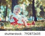 child walking in the park. | Shutterstock . vector #792872635