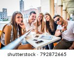 multi ethnic group of students... | Shutterstock . vector #792872665